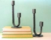 Vintage Mid Century Candle Holders Danish Modern Iron Industrial Design Home Decor