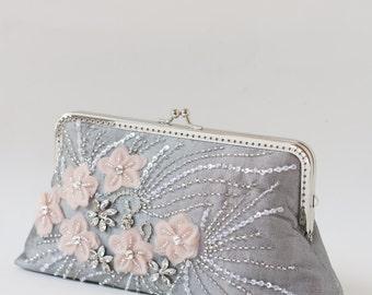 Grey Beaded Evening Clutch Bag / Grey Silk Handbag / Silver wristlet / Bridal Clutch