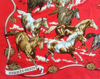 Authentic Vintage Hermes Paris Red Silk Scarf Les Mustangs Cowboy Horse Ranch Made in France