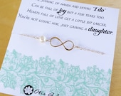 Mother of the groom gift, wedding gift for mother in law from bride, pearl bracelet for mother of groom, mom in law card, infinity bracelet