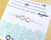 Mother of the groom, gift to mom from bride, mother in law gift, wedding gift for mom, infinity necklace, pearl necklace, mother in law card