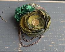Olive Green Steampunk Fascinator Steampunk Hat Clip Steampunk Brooch Stampunk Costumes Steampunk Gifts Steampunk Wedding Green Fasciantor