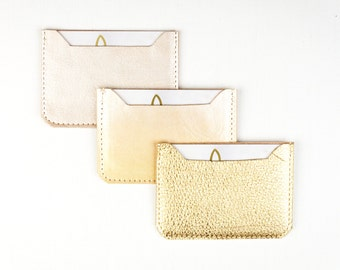 LEATHER Card Case. Credit Card Case. Metallic Leather Wallet
