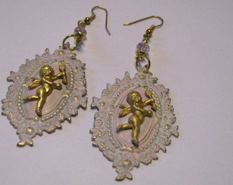Art Nouveau Shabby & Chic White and Pink Shield and Cupid Romantic Dangle Pierced Earrings Cottage Chic Earrings, Shabby Distressed Earrings