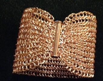 """Copper  hand crochet bracelet 2"""" wide"""
