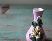 Miniature Floral Bud Vase, Tiny Porcelain Vase, Vintage Bud Vase