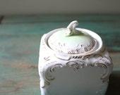 Two-Tone Lidded Porcelain Jar, Vintage Trinket Dish, Gold Embellished Jar