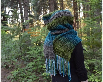Hooded Scarf - Lagoon - Crocheted Woodland Pixie Scarf