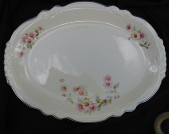 Homer Laughlin Large Oval Platter, Virginia Rose--JJ59 Moss Rose