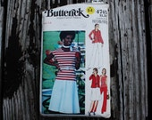 Butterick 4745 1970s 70s Knit Shirt Skirt Pants Vintage Sewing Pattern Size 14 Bust 36