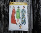 Simplicity 6048 1970s 70s Kimono Sleeve Tent Dress Muu Muu Vintage Sewing Pattern Size Small 8-10 Bust 31.5-32.5