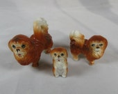 Vintage Miniature Family of 3 Bone China Pekingese Family of Dogs Mom Dad Puppy Dog Japan Doll House Size