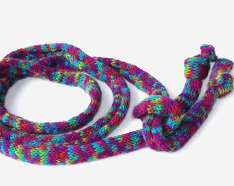 Skinny Hand Knit Scarf, Multicolor Knitted Scarf, Bodacious Rope Scarf, Chunky Hand Knitted Scarf