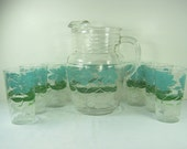 Vintage FLORAL PITCHER & TUMBLER Set/6 Glasses Blue Green Ombre Flowers Glass