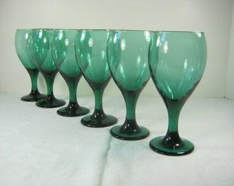 Vintage JUNIPER GOBLETS Green Wine Glasses Set/6 Libbey BARWARE Glass
