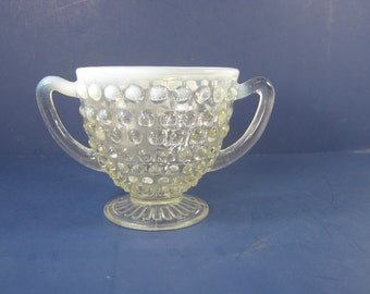 Vintage FENTON MOONSTONE HOBNAIL Sugar Bowl Glass Double Handle