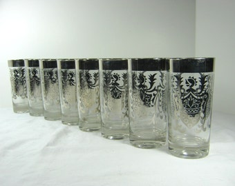 Vintage SILVER MIRROR TUMBLER Set/8 Midcentury Highball Retro Barware Kimiko Guardian Knight Glass