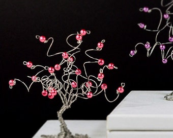 Wire Tree Sculpture Small Pearl Tree of Life Wedding or Baby Shower Gift Favors