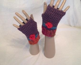 Fingerless gloves with flower and leaves, handmade, crochet.