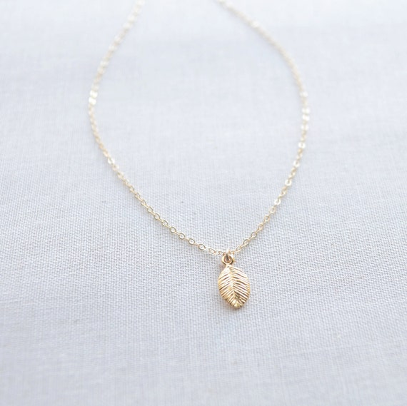 Tiny Rose Gold Leaf Necklace, Small Rose Gold Leaf Charm Necklace, Petite Leaf Necklace - 1143