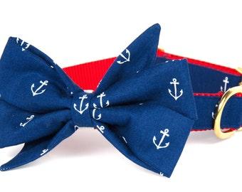 Crew LaLa™ Navy Anchors Away Belle Bow Dog Collar