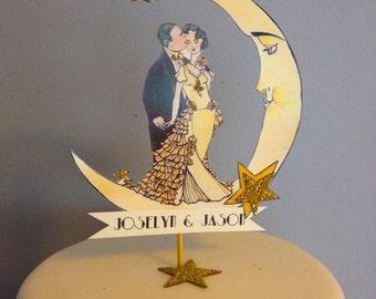 Great Gatsby Wedding Cake Topper - Deco Moon - Glitter 14 Karat Gold - Bride and Groom Cake Topper
