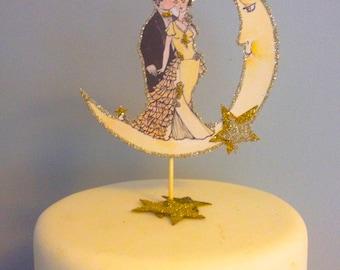 Great Gatsby Wedding Cake Topper, Art Deco Moon, Custom Hair Tone, 14 Karat Gold Glass Glitter and Silver Glitter