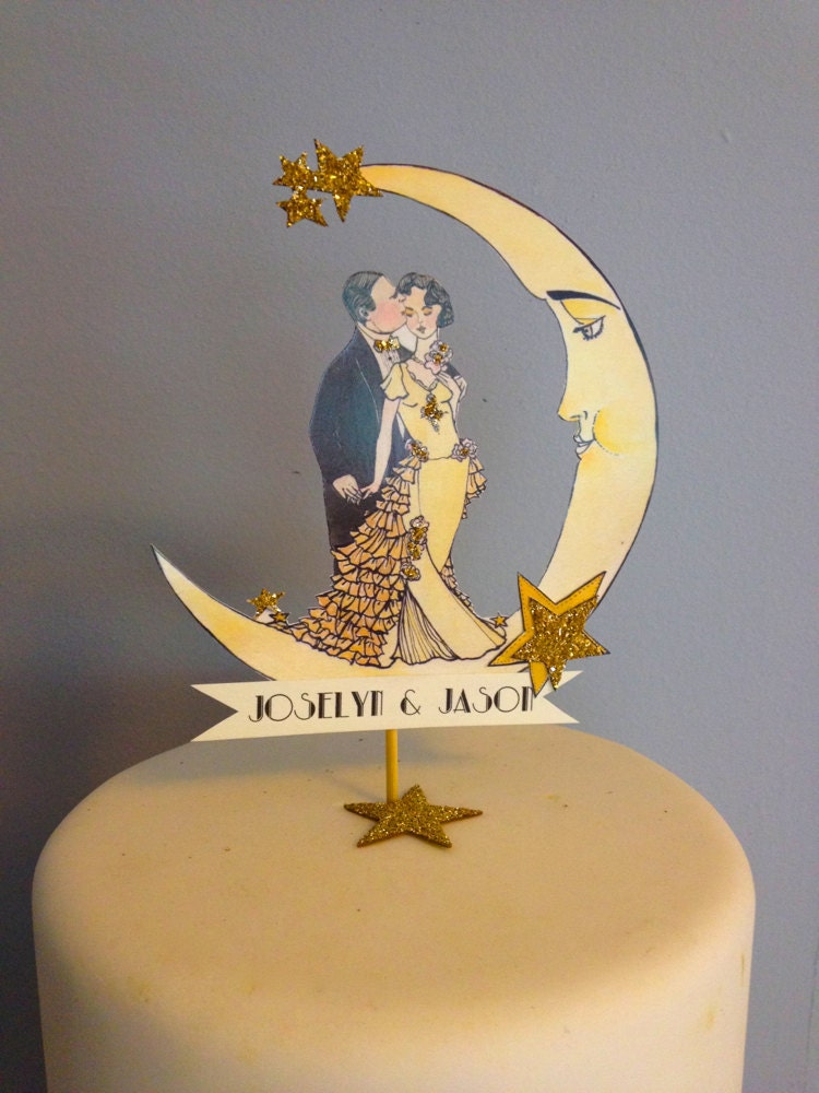 Art Deco Moon Cake Topper : Art Deco Wedding Cake Topper Deco Moon by JolieEnRoseVintage