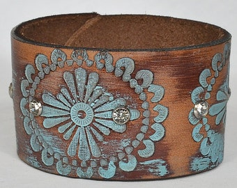 Women's Turquoise Leather Cuff Bracelet - Distressed Turquoise Leather Cuff Bracelet, Full Grain Leather Cuff Bracelet