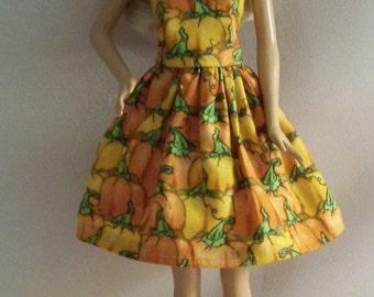 Handmade Barbie Doll Clothes-Fall Pumpkin Print Barbie Dress