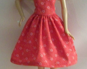 Handmade Barbie Clothes-Red with White Flowers Barbie Dress