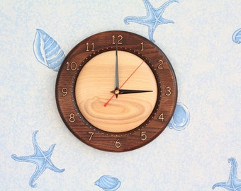 "Wood carved wall clock ""Ash"""