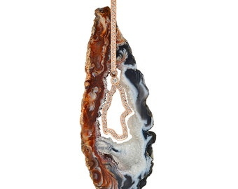 Diamond Geode Stone Pendant Necklace in 14k Rose Gold 0.40 ct | ready to ship!