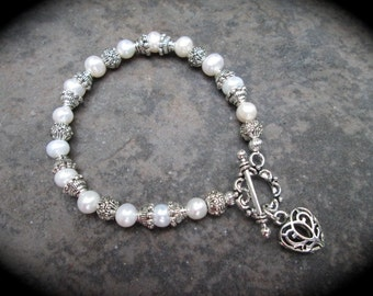 Freshwater Pearl Heart bracelet with filigree heart charm and toggle clasp Wedding Jewelry Bridesmaid Gift