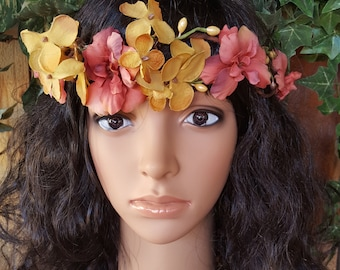 Gold and Tea Rose Flower Halo, Flower Hair Wreath, Boho Flower Halo, Photo Prop, Coachella Festival Hair Wreath, Flower Crown