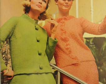 Vintage 1960s Knitting Pattern Book, New Hand Knits, Fleisher, Bear Brand, Botany, Jackets Sweaters, Dresses, Suits, Mad Men, Vol 98 1962
