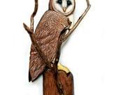 BARN OWL sculpture, Owl art, Owl wood carving, owl sculpture, handmade sculpture, owl wall art, home decor, home cabin art, owl wall decor,