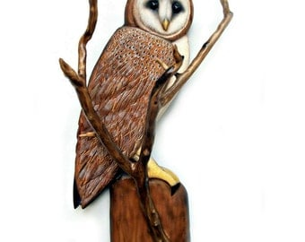 BARN OWL art sculpture, Owl art, Owl wood carving, owl sculpture, wood owl art, owl wall art, wood owl sculpture, lodge cabin art, owl decor