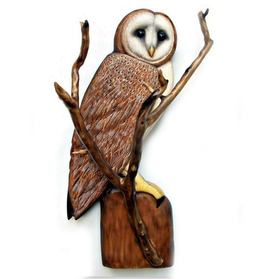 Barn owl art sculpture wood carving
