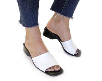 Designer Paul Green vintage slide sandals / white leather slip on sandals / vintage 1990s leather sandals / US 9 UK 6.5