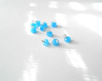 Natural White Jade Dyed Baby Blue Faceted Dangle Beads