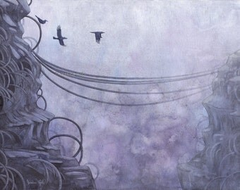 Fantasy Art Print- The Dreamscape - 8.5x11 Open Edition Print - Fantasy Surreal Crow Art