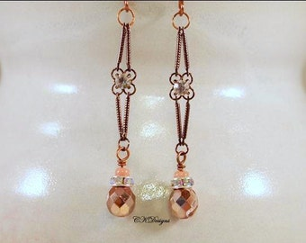 Czech Glass Beads And Copper Earrings, Copper, Glass and Rhinestone Dangle Pierced Earrings. OOAK Handmade Earrings. CKDesigns.us