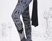 Filigree Art Nouveau Leggings by Carousel Ink -  BLACK Womens Legging - Printed Tights