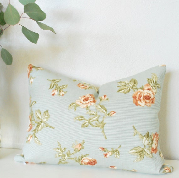 """Shabby Chic Pillow Cover, Blue and Pink Roses, 12""""x16"""", Vintage Shabby Chic, Blue and Pink Floral, Shabby Floral, Vintage Shabby Chic Fabric"""