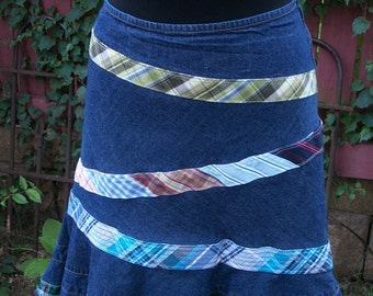 Denim Tulip Skirt with Plaid Accents - Altered Boho Junk Gypsy Clothing - Size 8