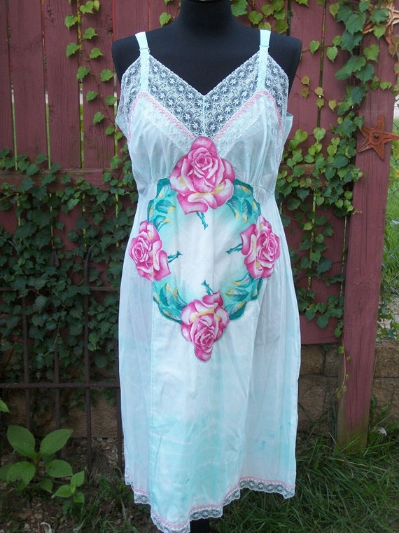 Mint Green Tie Dye Vintage Lace Slip With Rose Hankie Amp Lace
