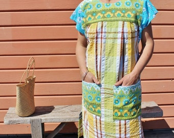 Upcycled Womens Vintage Linens Mexican Dress Tablecloth Linen Seersucker Checks Florals Retro Huipil Small OOAK
