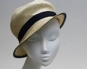 Ivory Cloche Hat w/ Navy Petersham Ribbon - Carmen