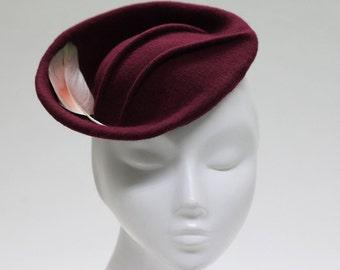 Sweet Felt Burgundy Fascinator Hat - Pintuck Detail w/ Feather - Saucer Hat - Kiru II